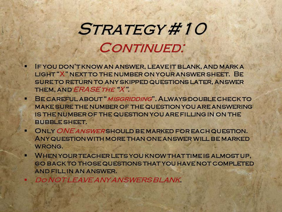 Strategy #10 Continued: