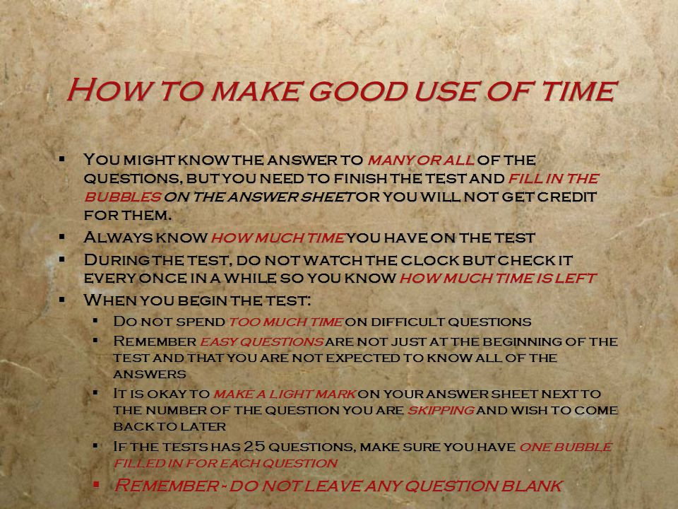 How to make good use of time