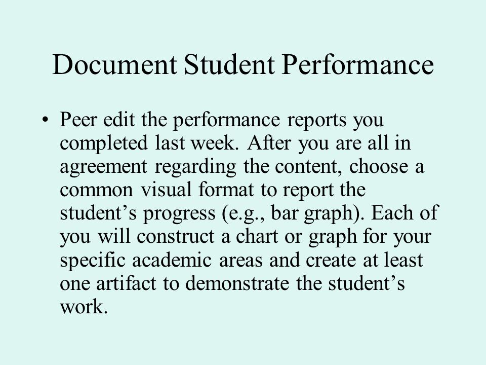 Document Student Performance