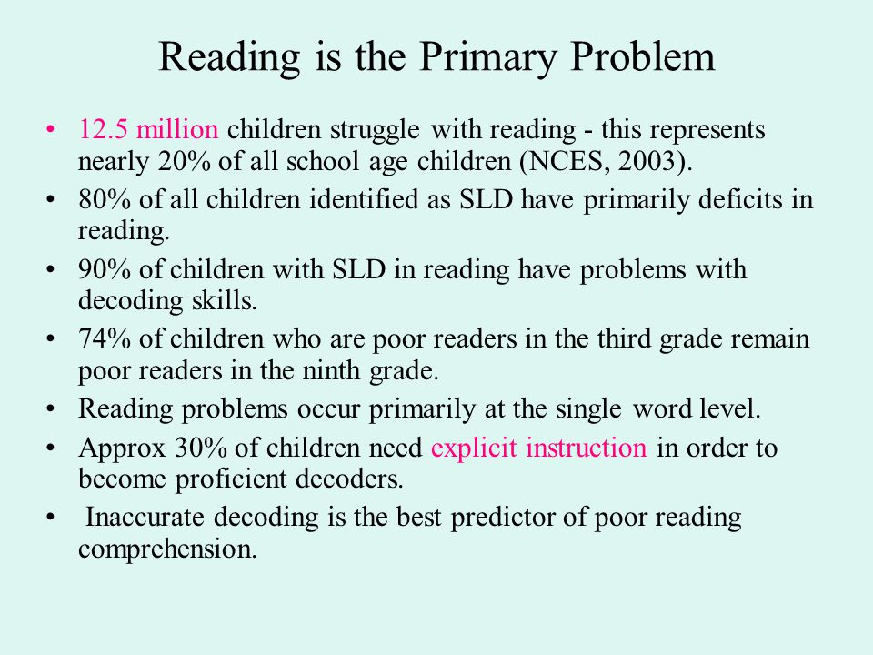 Reading is the Primary Problem