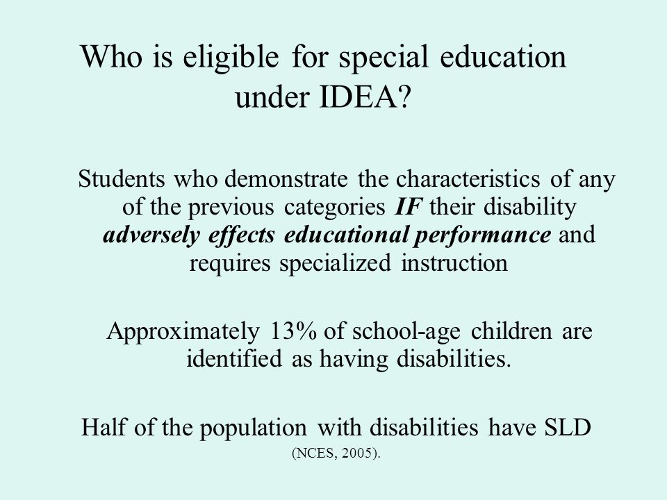 Who is eligible for special education under IDEA