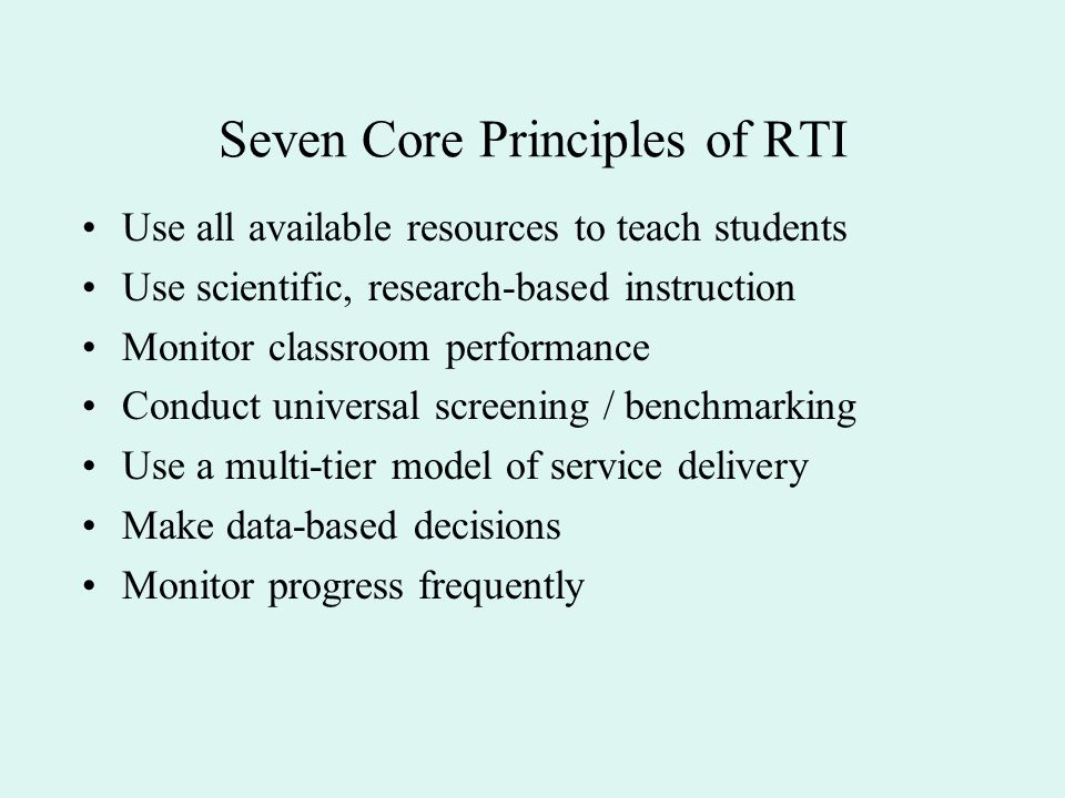 Seven Core Principles of RTI
