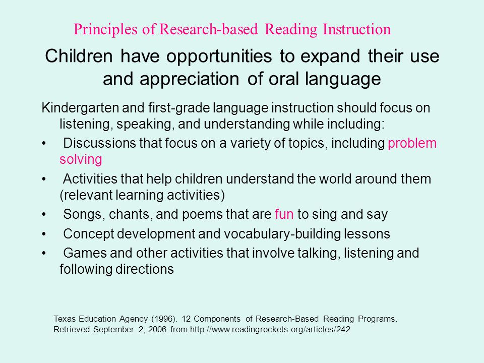 Principles of Research-based Reading Instruction