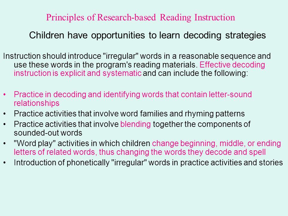 Children have opportunities to learn decoding strategies