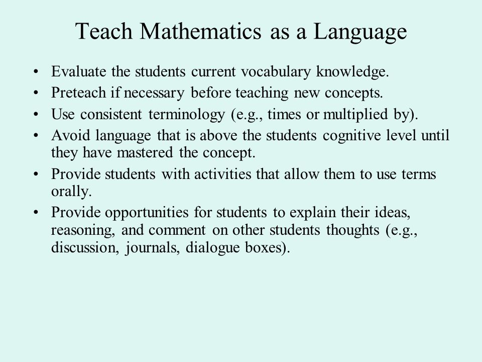Teach Mathematics as a Language