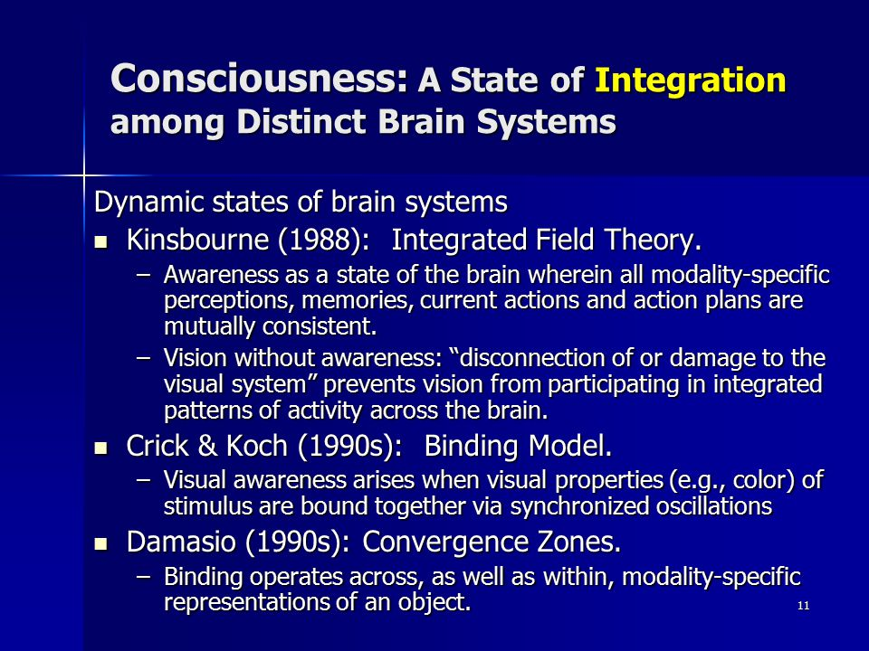 Consciousness: A State of Integration among Distinct Brain Systems
