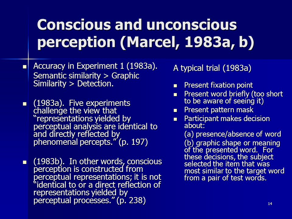 Conscious and unconscious perception (Marcel, 1983a, b)