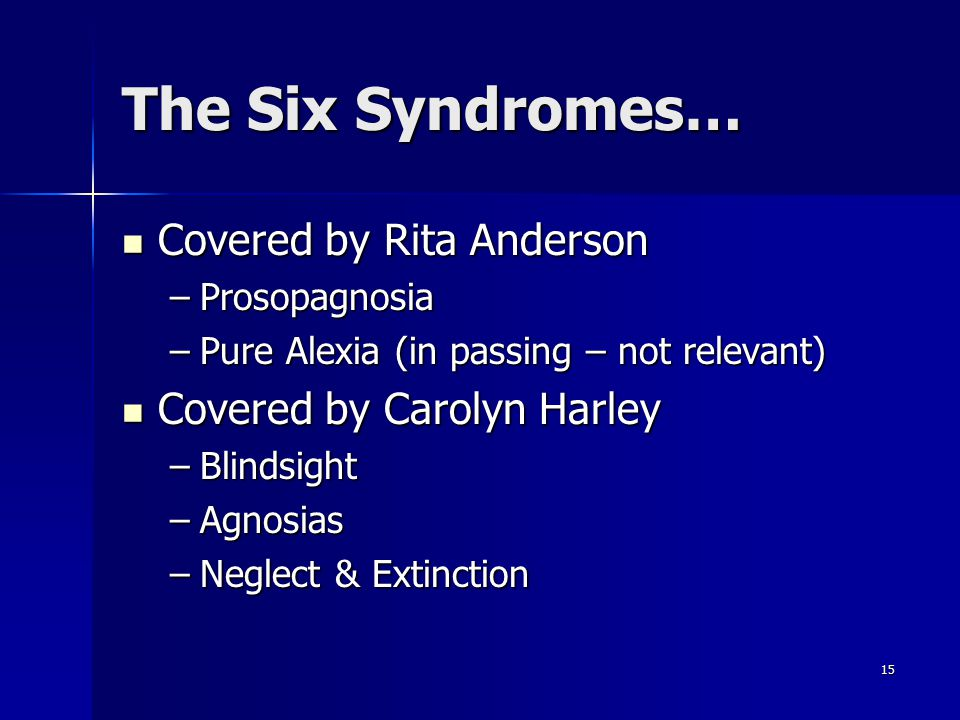 The Six Syndromes… Covered by Rita Anderson Covered by Carolyn Harley