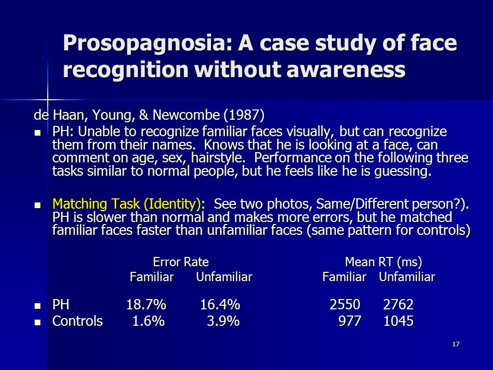 Prosopagnosia: A case study of face recognition without awareness
