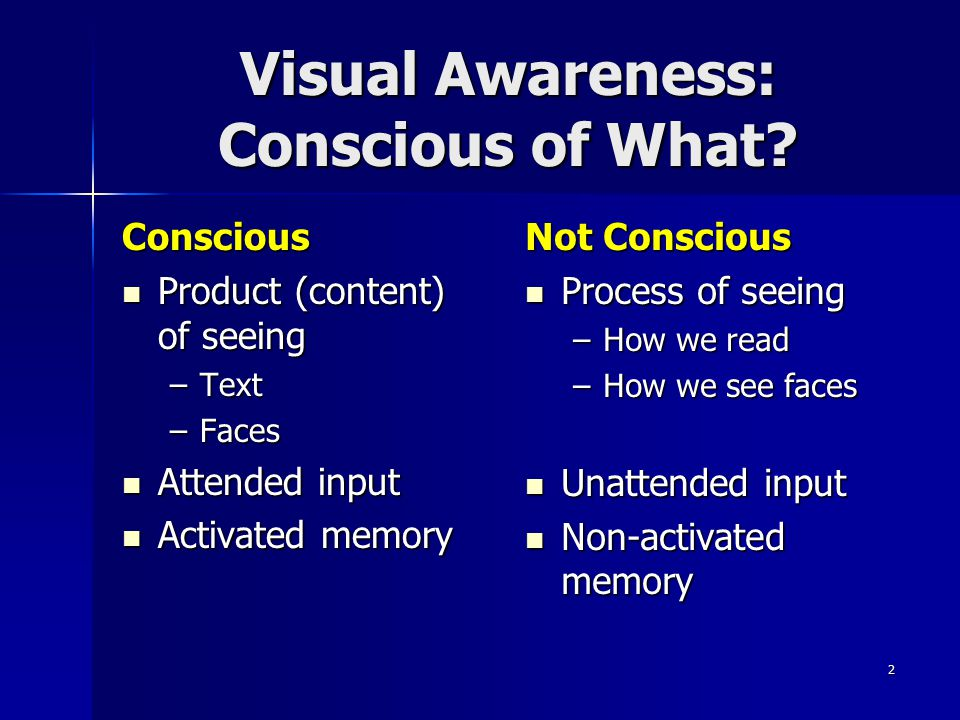 Visual Awareness: Conscious of What