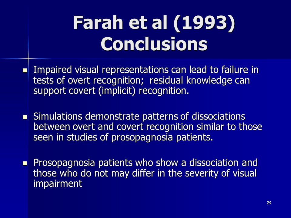 Farah et al (1993) Conclusions