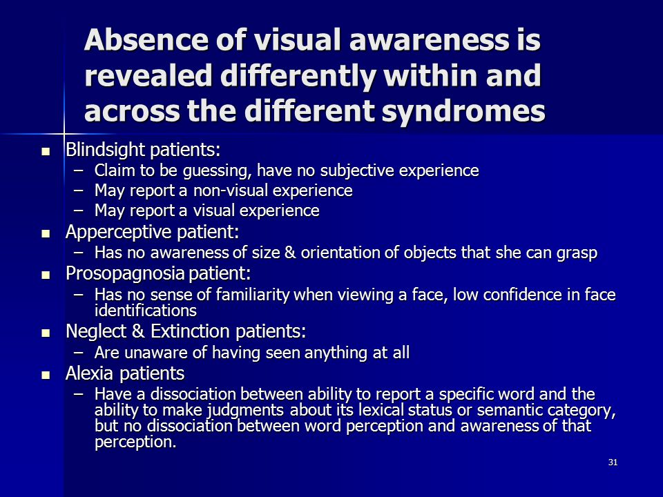 Absence of visual awareness is revealed differently within and across the different syndromes