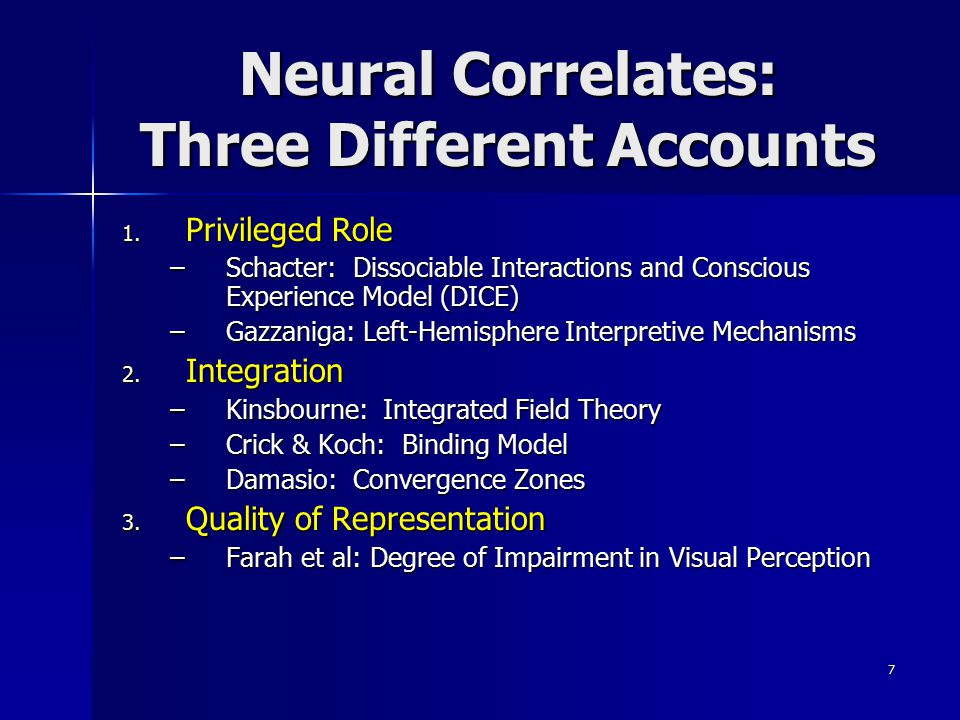 Neural Correlates: Three Different Accounts