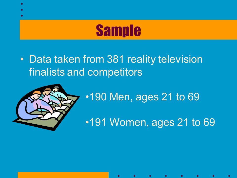Sample Data taken from 381 reality television finalists and competitors.
