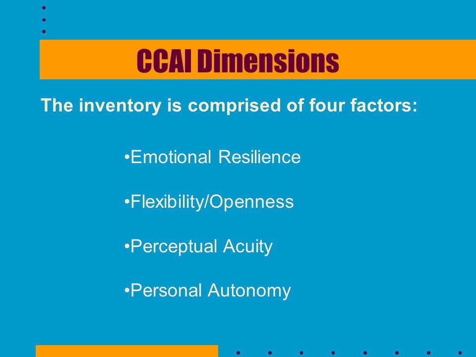 CCAI Dimensions The inventory is comprised of four factors: