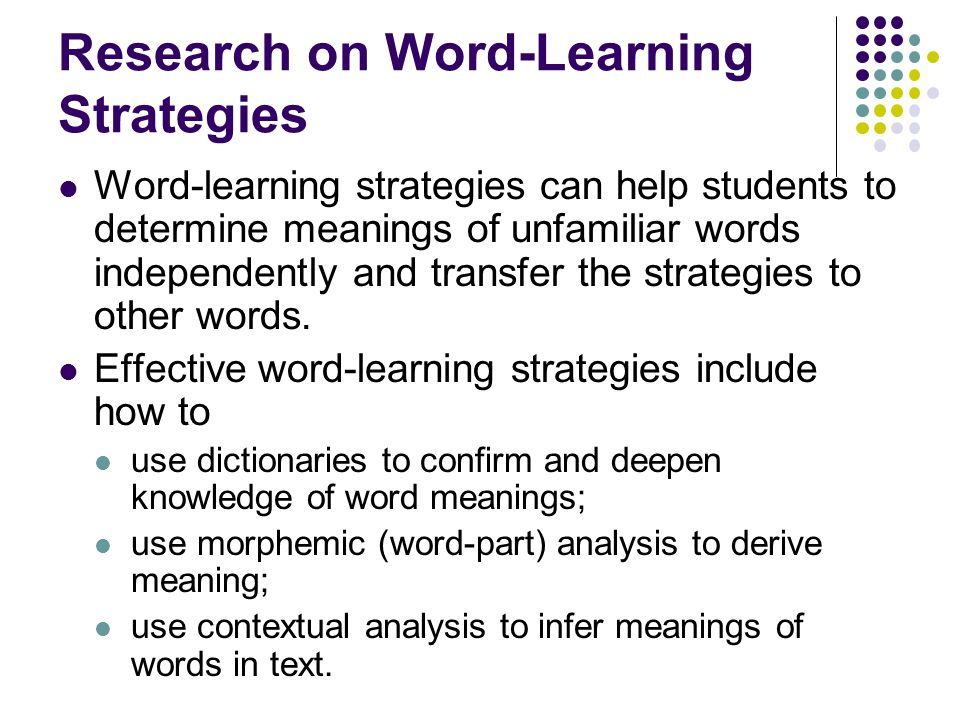 Research on Word-Learning Strategies