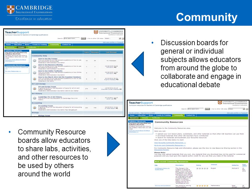 Community Discussion boards for general or individual subjects allows educators from around the globe to collaborate and engage in educational debate.