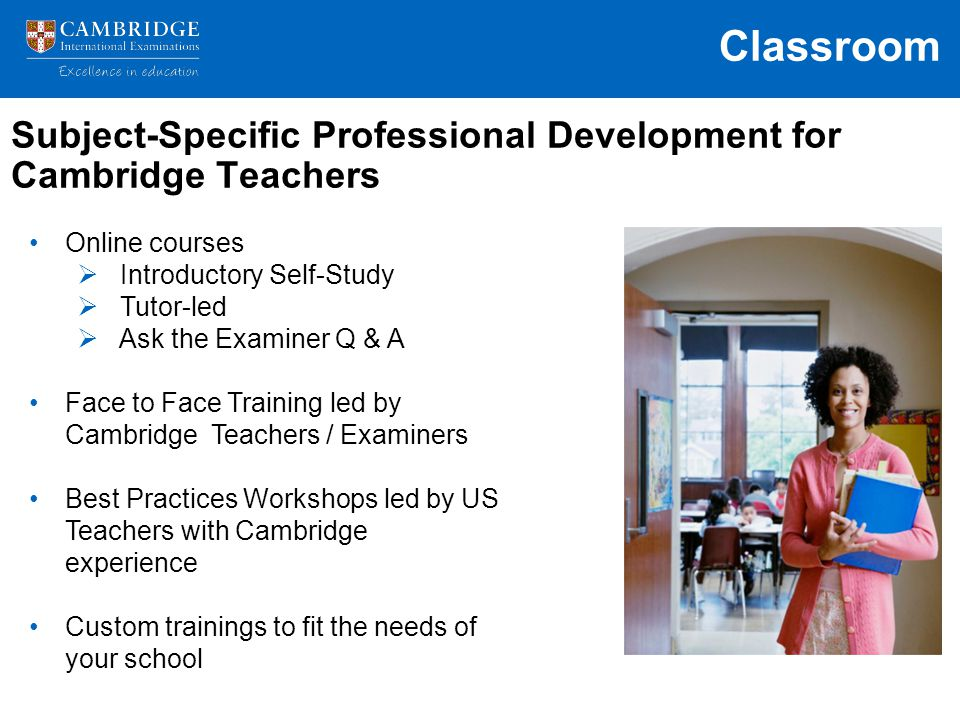 Subject-Specific Professional Development for Cambridge Teachers