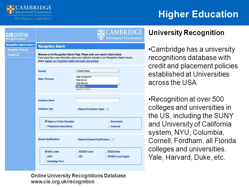 Higher Education University Recognition