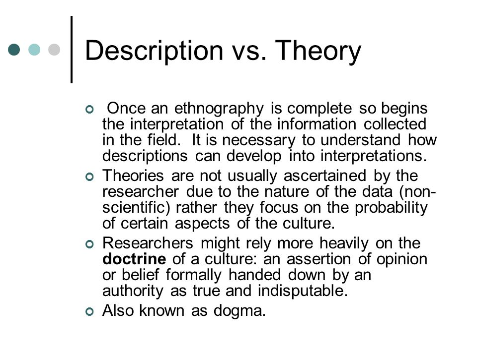 Description vs. Theory