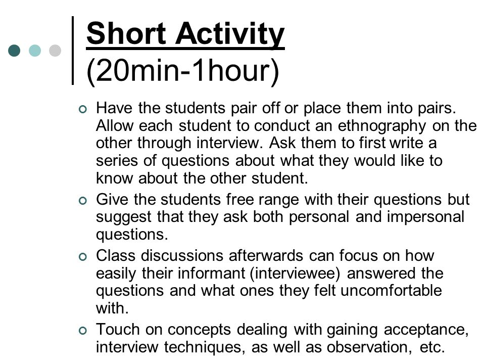 Short Activity (20min-1hour)