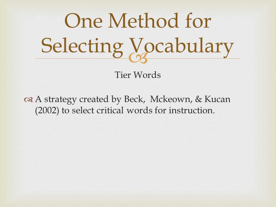 One Method for Selecting Vocabulary