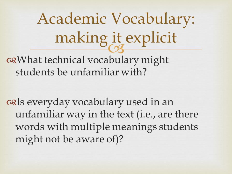 Academic Vocabulary: making it explicit