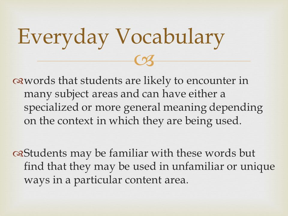 Everyday Vocabulary