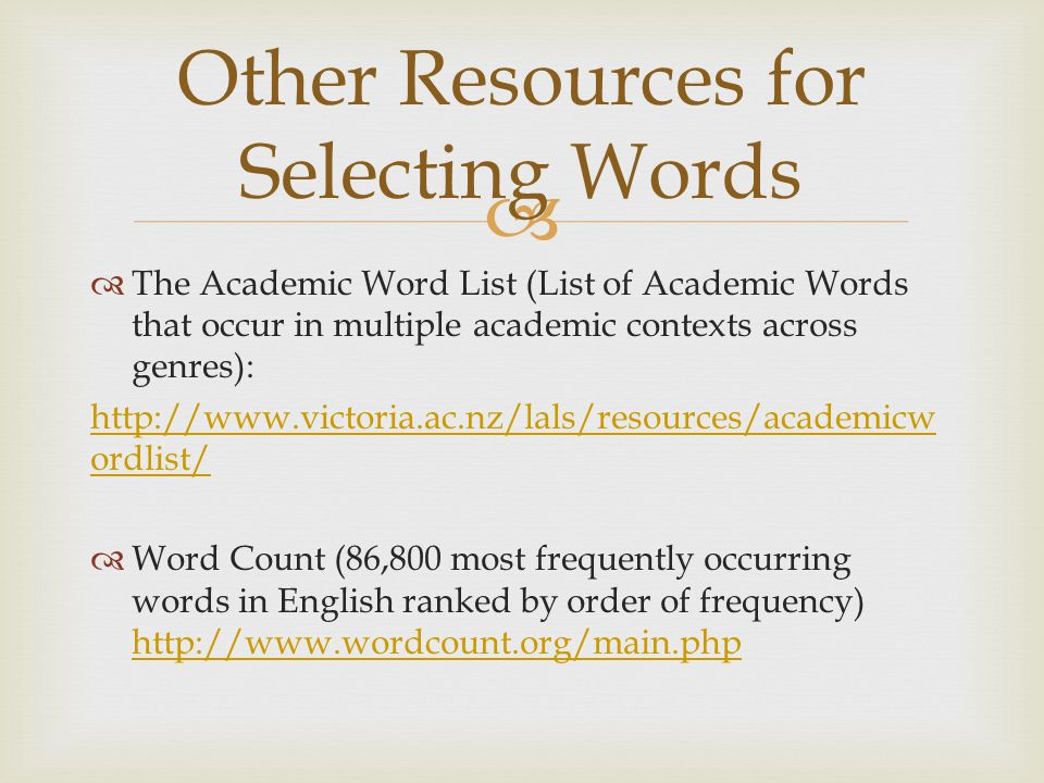 Other Resources for Selecting Words