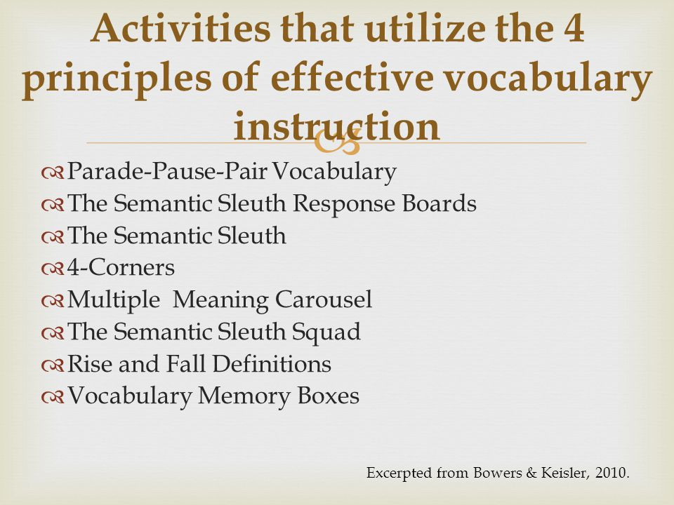 Activities that utilize the 4 principles of effective vocabulary instruction
