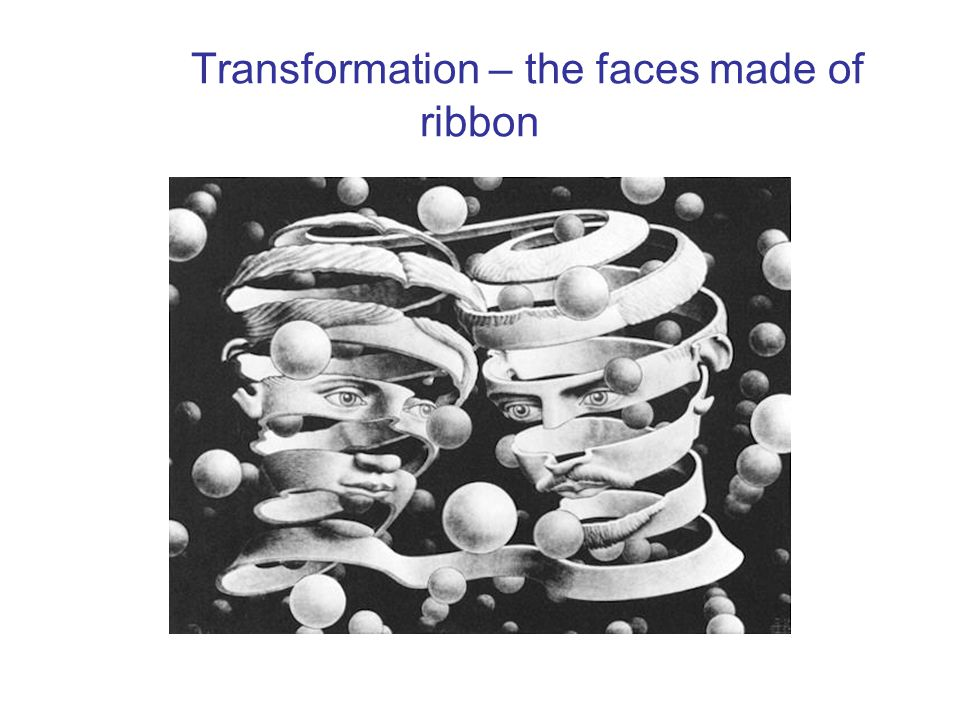 Transformation – the faces made of ribbon