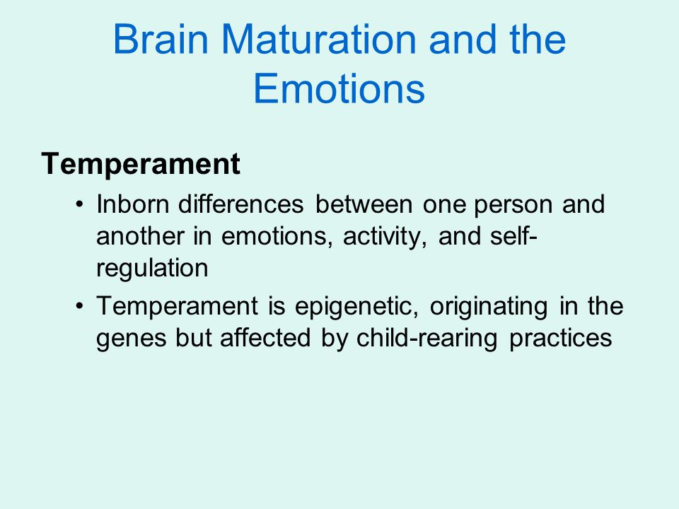 Brain Maturation and the Emotions