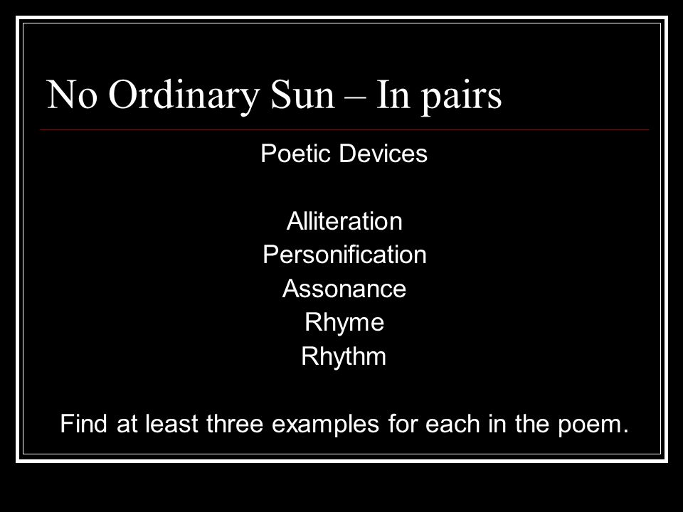No Ordinary Sun – In pairs