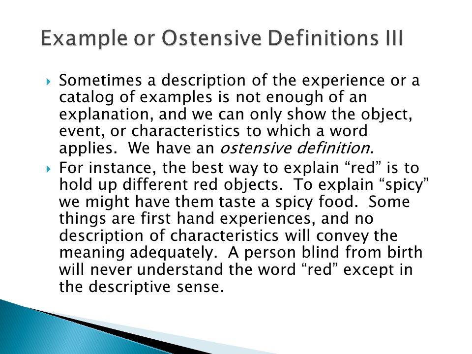 Example or Ostensive Definitions III