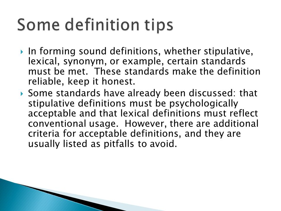 Some definition tips