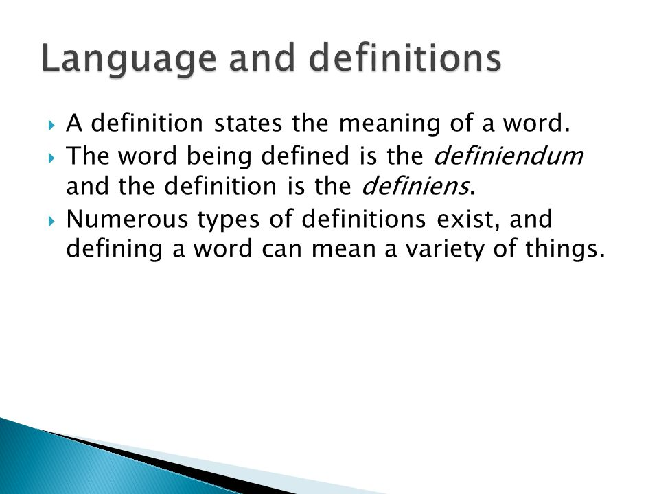 Language and definitions