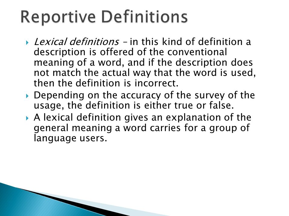 Reportive Definitions
