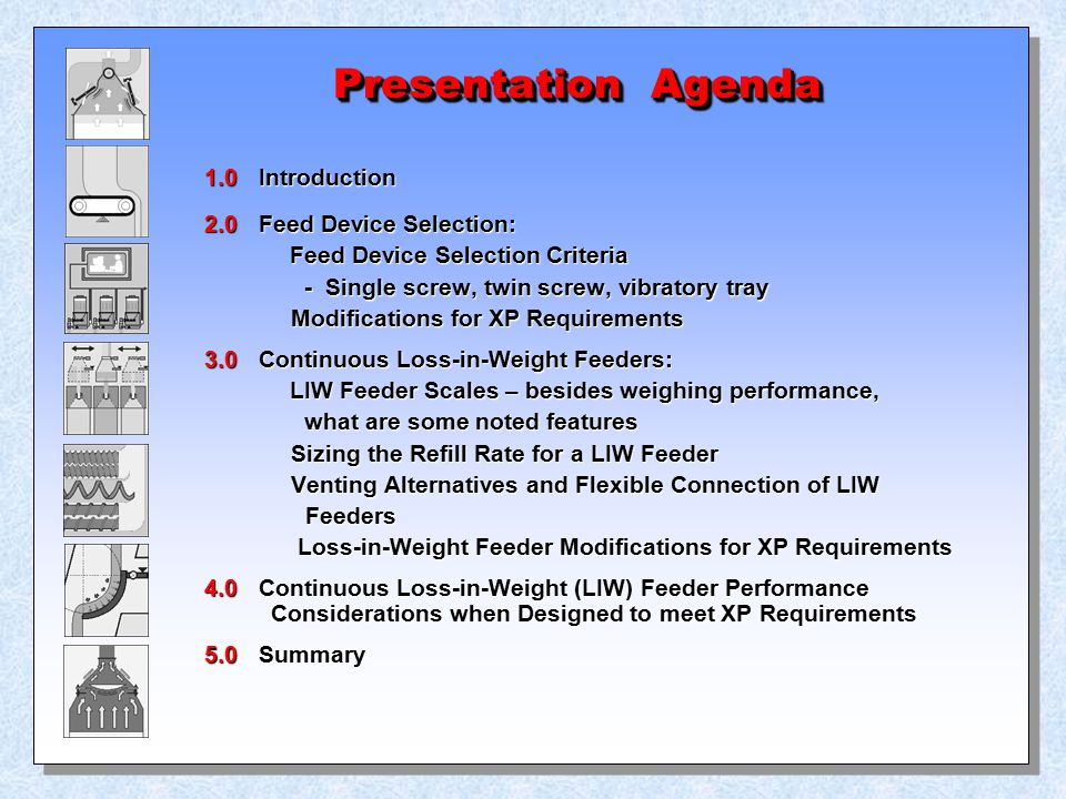 Presentation Agenda 1.0 Introduction 2.0 Feed Device Selection: