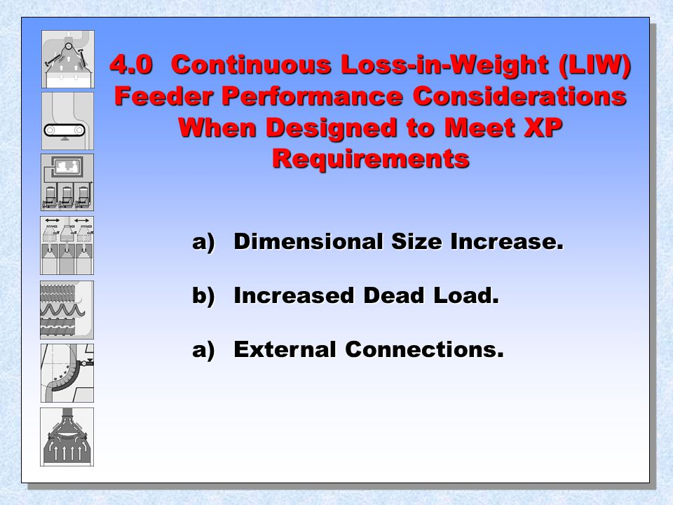 4.0 Continuous Loss-in-Weight (LIW) Feeder Performance Considerations When Designed to Meet XP Requirements