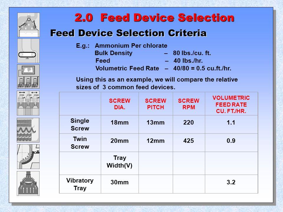 2.0 Feed Device Selection Feed Device Selection Criteria