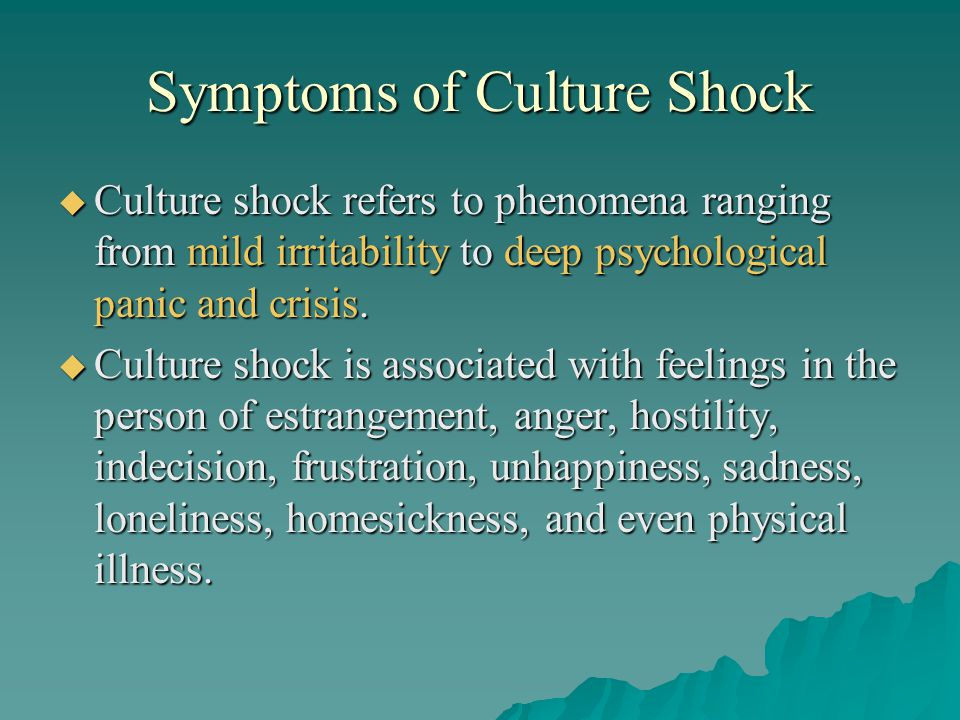 Symptoms of Culture Shock