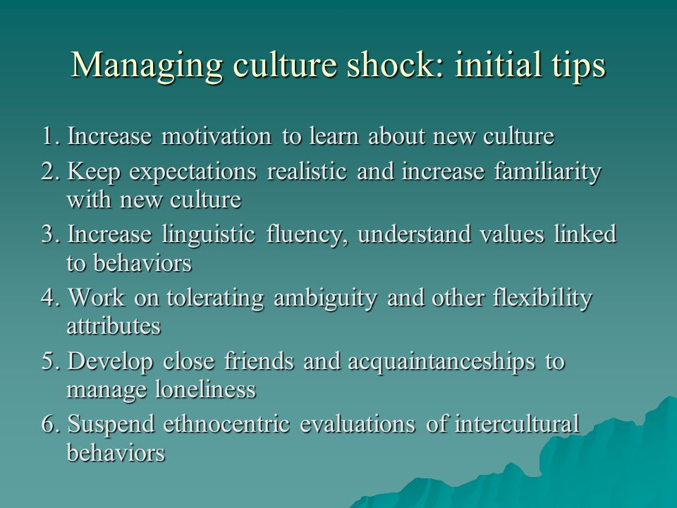 Managing culture shock: initial tips