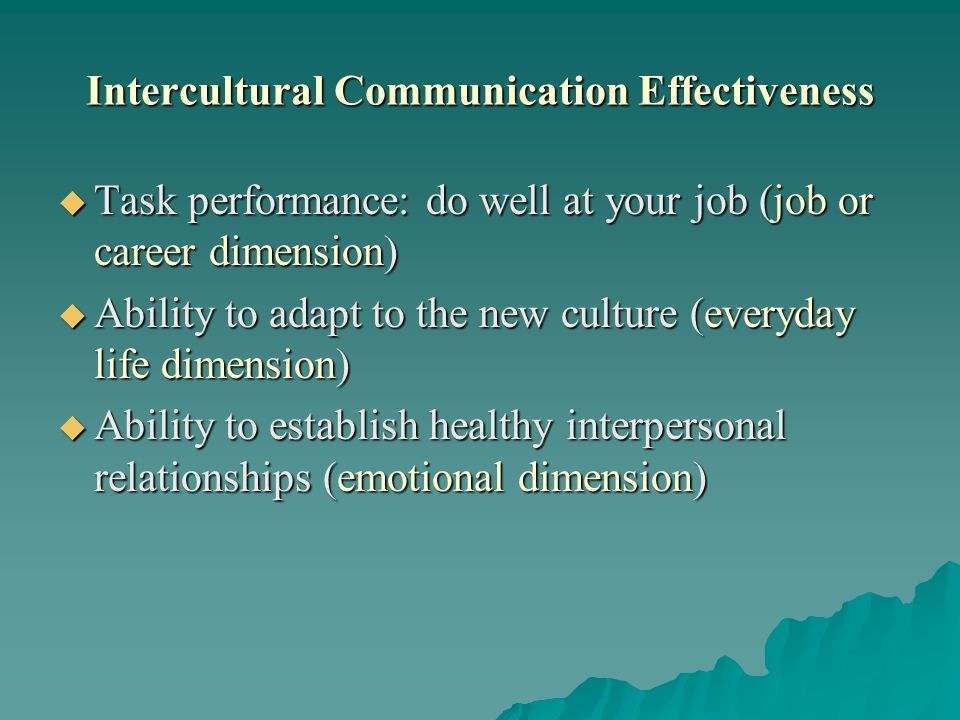 Intercultural Communication Effectiveness
