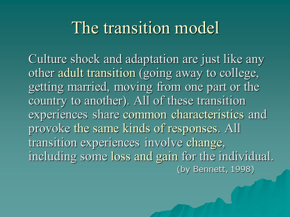 The transition model