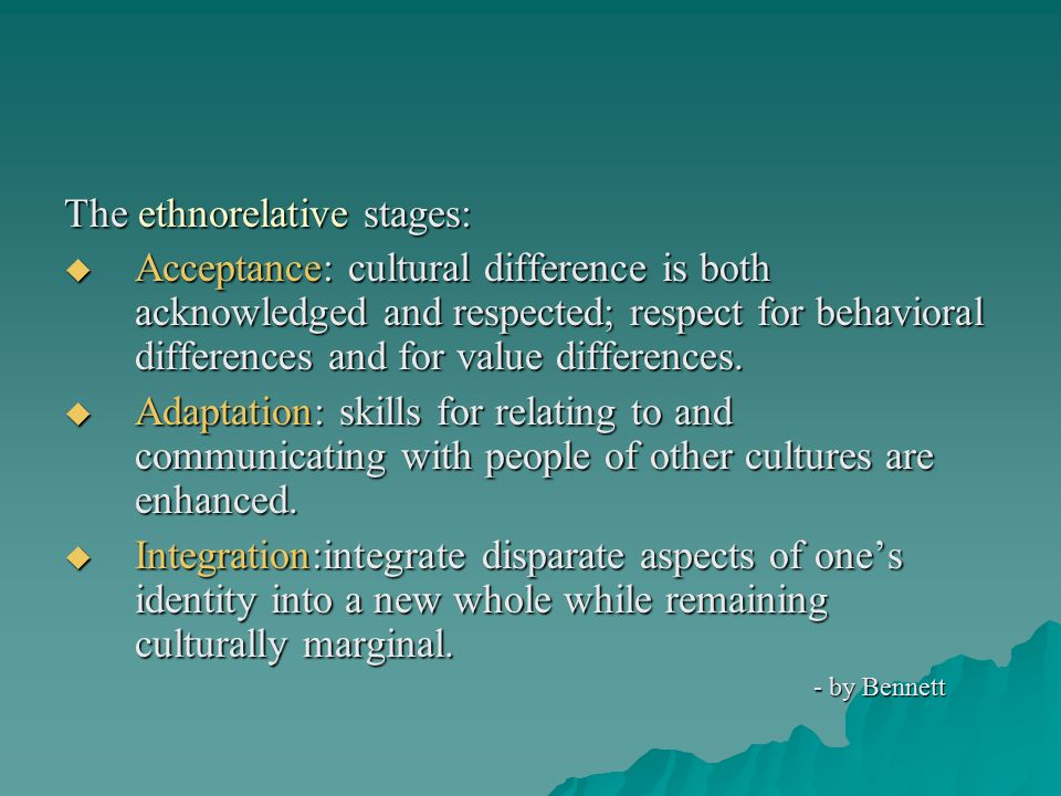 The ethnorelative stages: