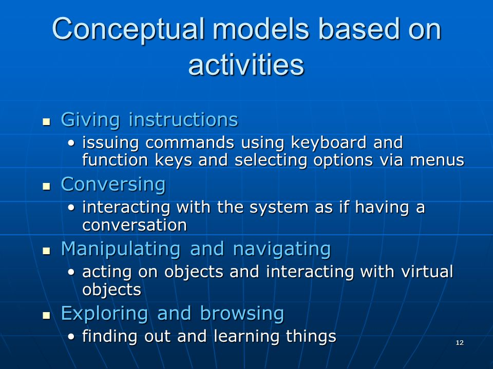 Conceptual models based on activities