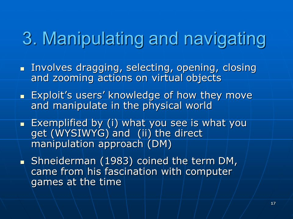 3. Manipulating and navigating