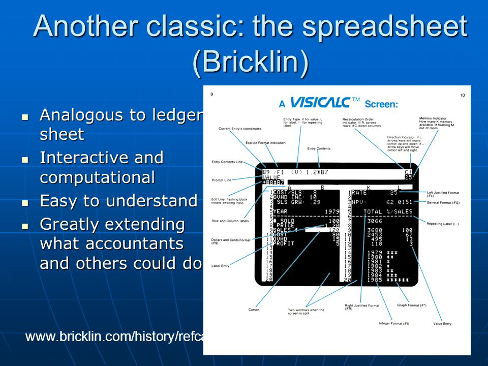 Another classic: the spreadsheet (Bricklin)