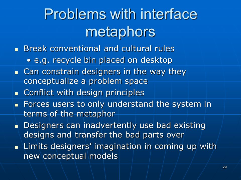 Problems with interface metaphors