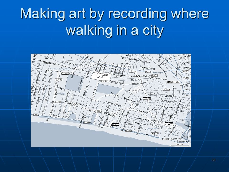 Making art by recording where walking in a city